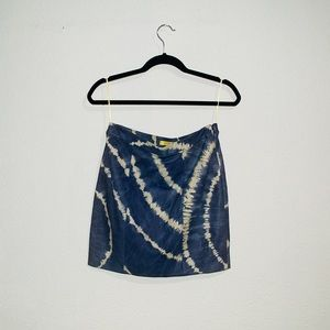 Catherine Malandrino Tie Dye Leather Mini Skirt